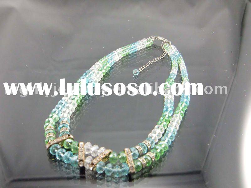 2012 newest fashion two strand acrylic diamond beaded necklaces