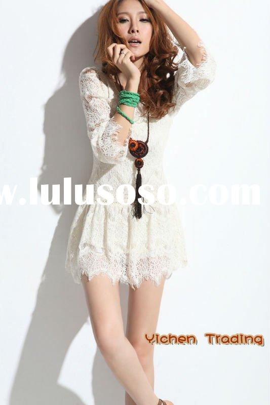 2012 summer women long sleeve white lace dress
