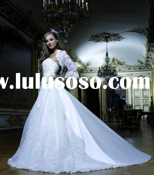 2012 vintage White 225 Long Sleeve lace Wedding Dress