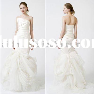 2014 Fiona Strapless Organza Mermaid Chapel Train Bridal Gown wedding dress