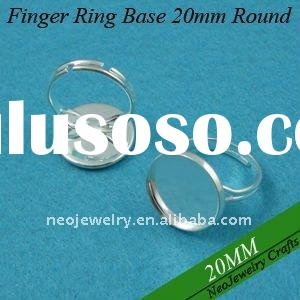 20mm Shiny Silver Blank Finger Ring Base, Adjustable Finger Ring Bezel Settings