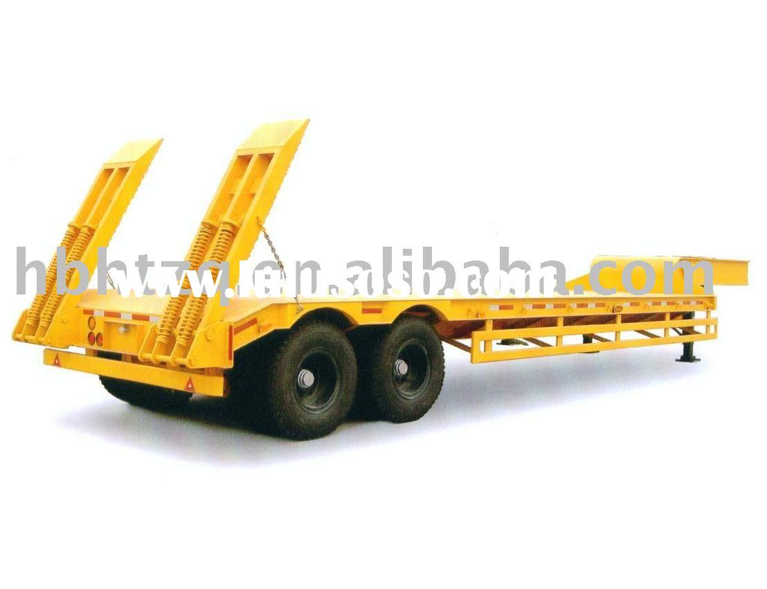 2 Axle Lowbed/low boy cargo truck semi trailer