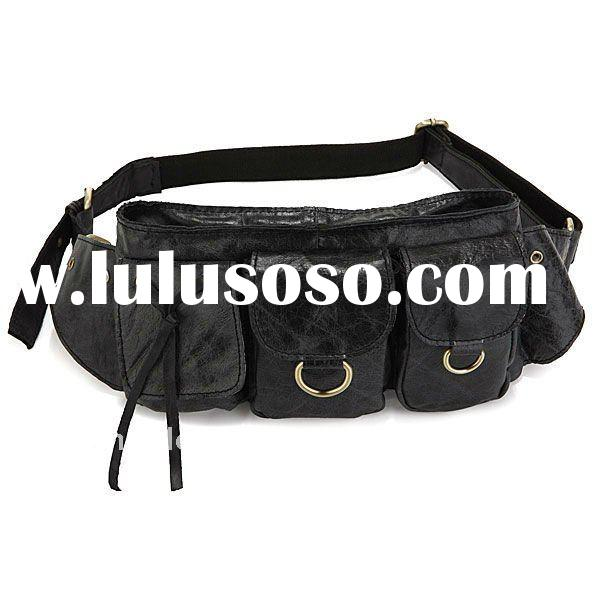 3014A Vintage Leather Black Fashion Men Waist Bag Fanny Pack Purse Accessories Wallet Pocket