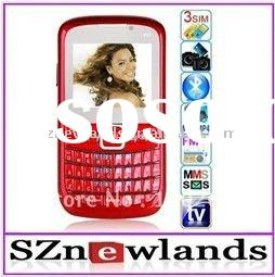 3 Sim Card TV Mobile Phone F51 Big Speakers Qwerty Keyboard 3 Chips GSM Quadband Celular