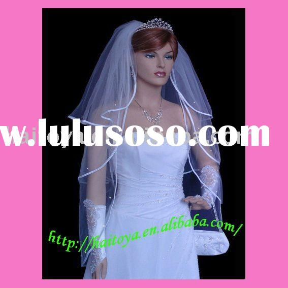 3-Tier White Fingertip Length Satin-Crystals Bridal Veil/Wedding Veil #9301Sw