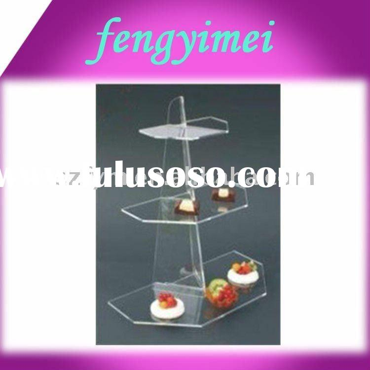 3 tiers clear acrylic cupcake display stand/transparent plexiglass cupcake display stand FYM-432