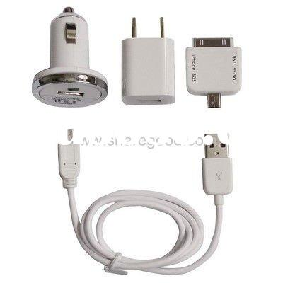 4 in 1 (Europe Socket Plug Home Charger, Car Charger, USB Cable, Adapter) travel kit for iPhone 4, H