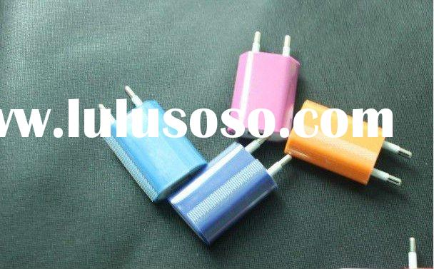500pcs/lot Wholesale free shipping Colorful Mini USB charger for iphone 4G/3G/3GS iPod with EU Europ