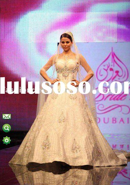 AWD124 2011 gorgeous embroidery with swarovski crystals special muslim wedding dress