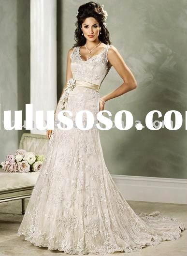 A-line gown with strap lace overlay floor length corset closure closure wedding dress for bride (AG9