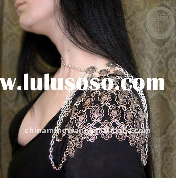 Armor Body Jewelry Chain And Filigree with vintage marcasite