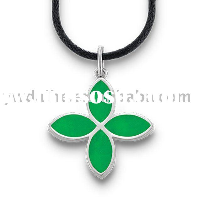 Attractive Four Leaf Clover Necklace Pendant With Green Enamel,Fashion Leather Necklace Chain Jewelr