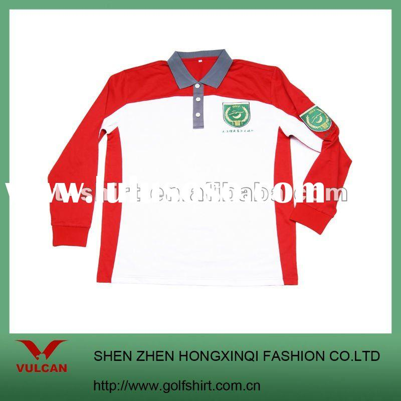 Bamboo Custom embroidered long sleeve polo shirt with color combinations design
