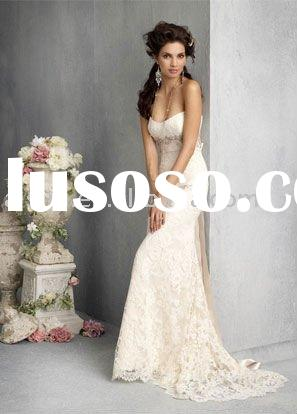 Best Selling Jim Hjelm JH8801 Strapless Lace Sheath Chapel Train Bridal Gown Wedding Dresses