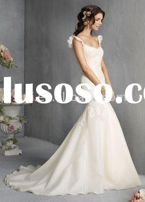 Best Selling Jim Hjelm JH8810 Scoop neckline Organza Mermaid Chapel Train Bridal Gown Wedding Dresse