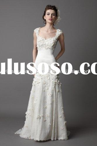 Bestsell lace elegant spaghetti straps open back slim line wedding dress/gown dressZXM3009