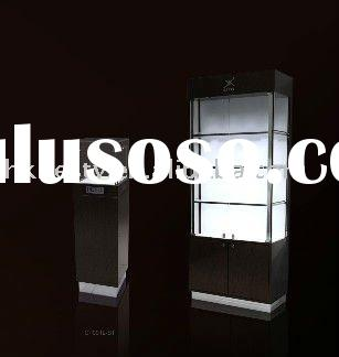 Black famous watch shop display cabinet and tower case with LED lights