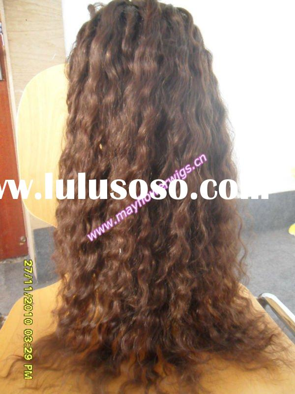 Bohemian remy human hair silk top lace wigs Kinky curl for african americans (can with skin pu or mo