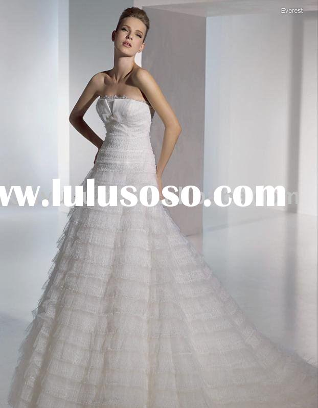 Brand designer A line strapless tiered ruffled wedding dress/bridal gown/wedding gown SPW014