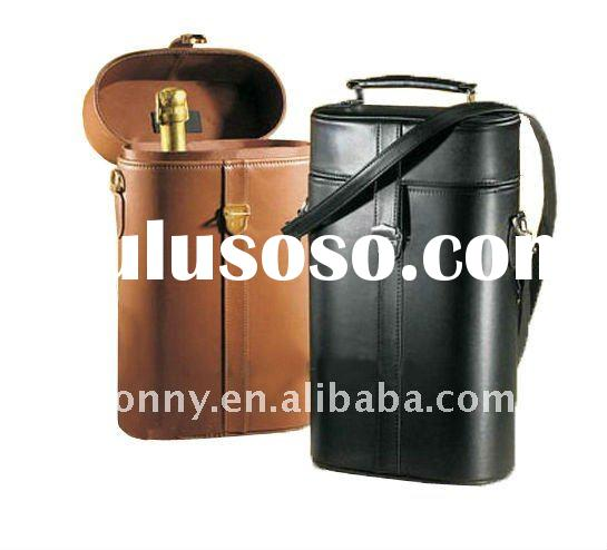 Carrying Around Leather Wine Case and Wine Carrier