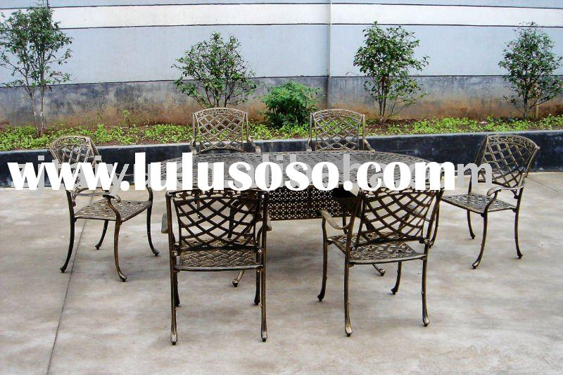 Cast Aluminum Outdoor furniture-oval table&6 chairs