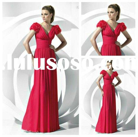 Chiffon Long Evening Dresses Short Sleeve High Quality