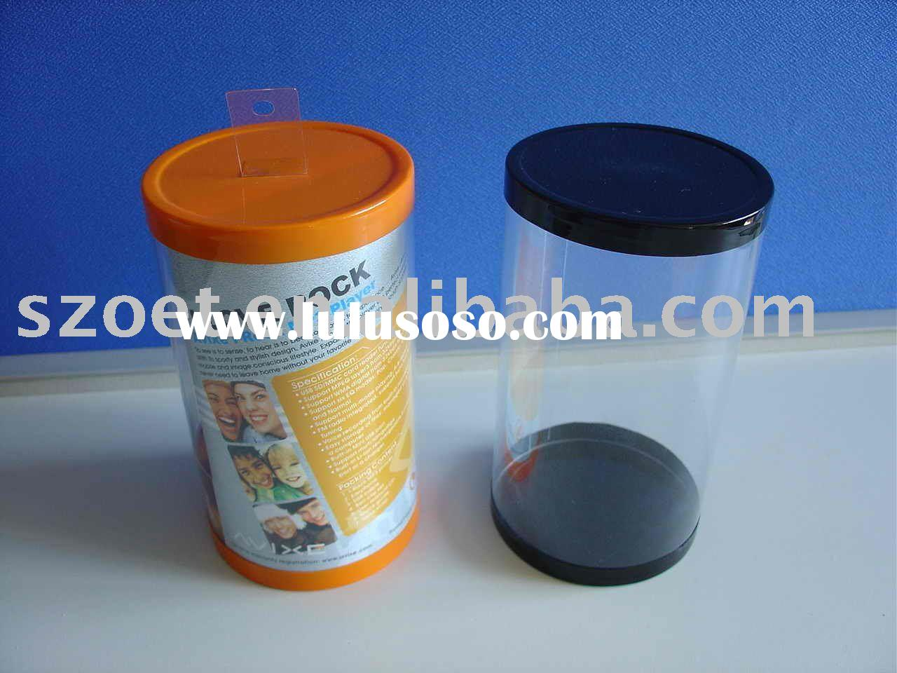 Clear plastic cylinder container with flat bottom and hanger cap