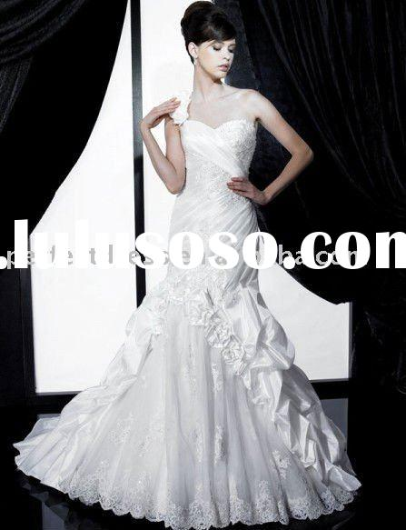 Detachable one shoulder strap Swarovski crystal wedding dress NSW0893