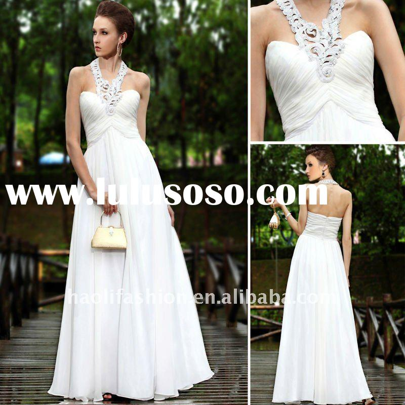 Dorisqueen Designer Floor Length Chiffon White designer wedding dresses