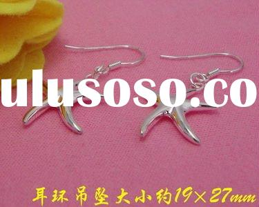 E207806 Genuine 925 Sterling Silver STARFISH Drop Dangle Cute Ladies Earrings