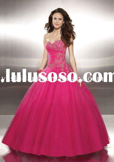 ED33189 sweetheart embroidery ball gown red formal evening dress by designer