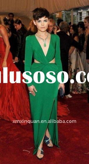 EL078 Designer green women's formal long sleeve chiffon evening dress 2011