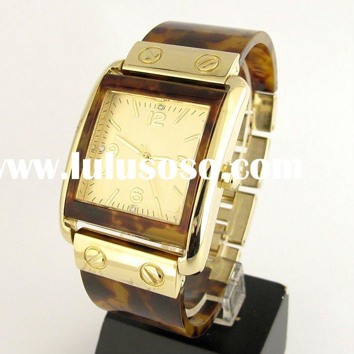 Elegant Synthetic Glass with Gold-Plated Stainless Steel Ladies Bracelet Watch (NBW0BR6196)