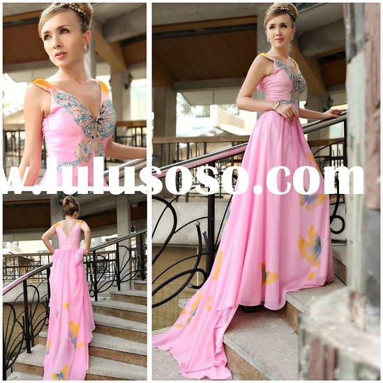 Elegant bridal wedding and evening dress D30257 long train with butterfly printed drop ship