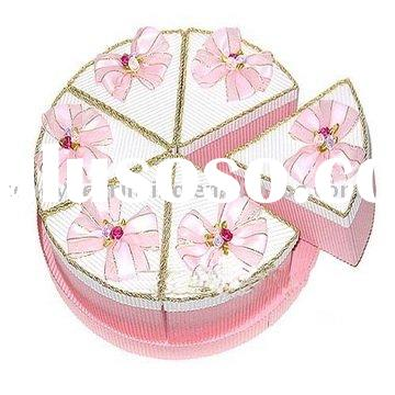Exquisite round cake gift box with ribbon