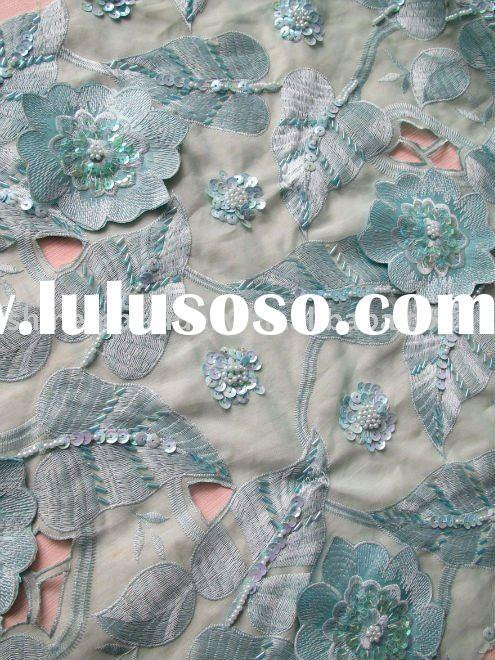 FASHIONABLE AFRICAN LACE FABRIC WITH HANDWORK