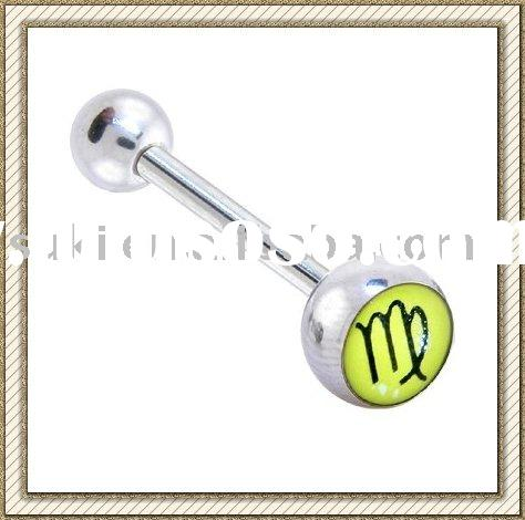 Fashion Body jewelry, Zodiac Sign VIRGO Logo Barbell Tongue Ring