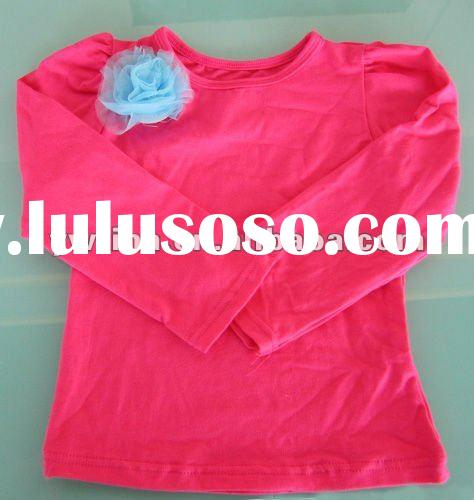 Fashion!Hot Pink Lace Long Sleeve Cotton T-Shirt/Petti Top for Girls