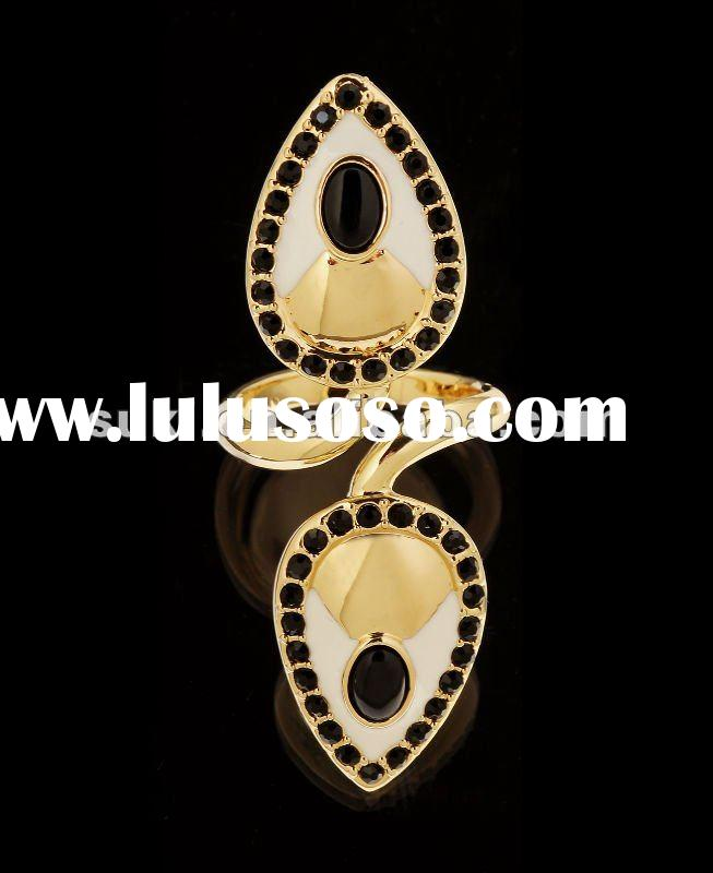Fashion Rings, Double Teardrop With Crystal Finger Rings