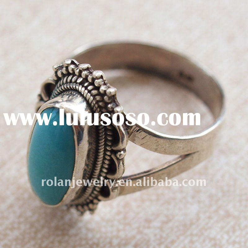 Fashion Turquoise inlay Rings Jewellery, Sterling silver rings