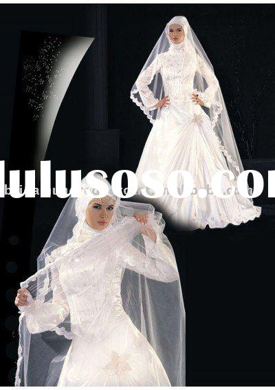 Fashion design Muslim long sleeve wedding dress/gown dressZAB5205
