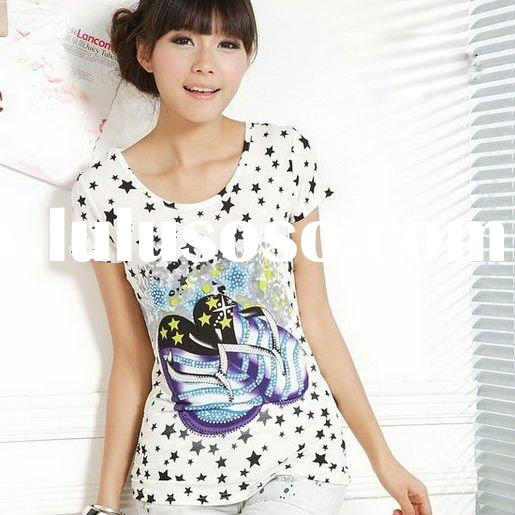 Fashion korean ladies summer short sleeve 100%cotton casual tight t shirt printed