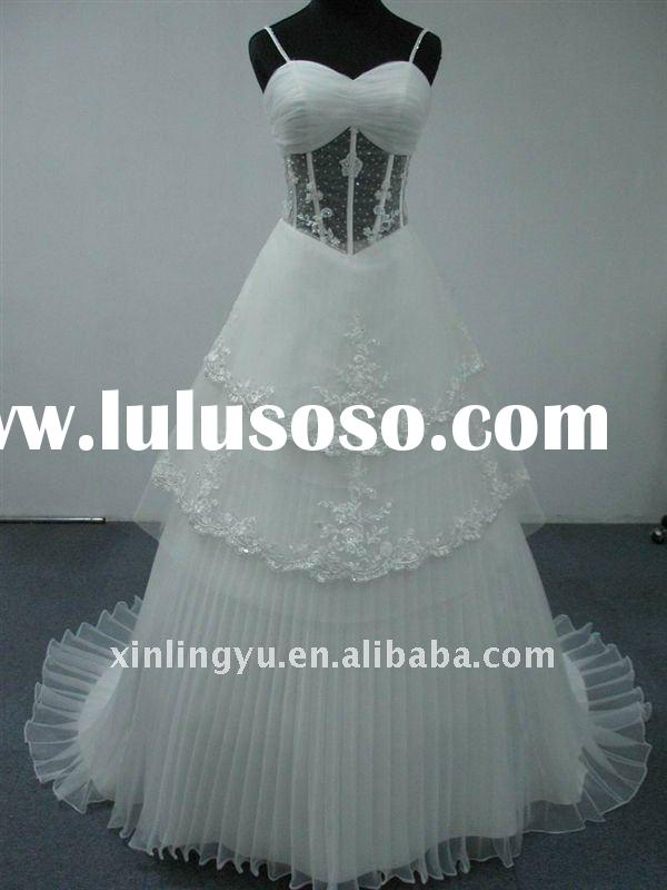 Free Shipping Spaghetti Straps lace Appliqued Wedding Dresses Bridal Wedding Gowns A-line Skirt Floo