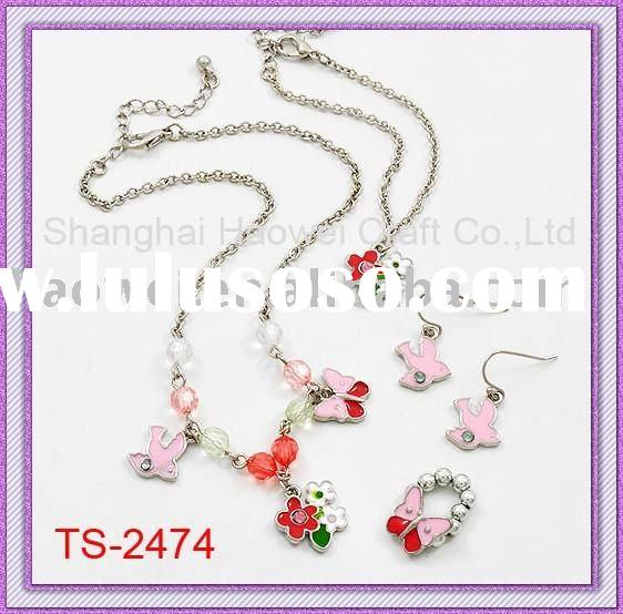 HOT ! ! ! ! !Flower and birds theme Kids Jewelry set( 4 in 1, Necklace,Earring,Bracelet,Ring )