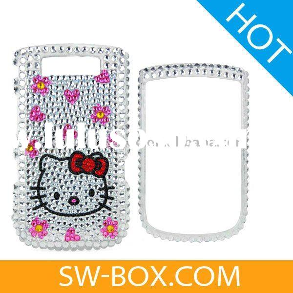 Hello Kitty & Flowers Diamond Bling Case Cover For BlackBerry Torch 9800 - Silver