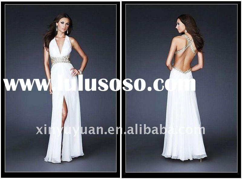 Hot 2011 Fashion White Halter V-neck Chiffon Beaded Evening Dress Gowns DH0003 Prom Dresses Gown