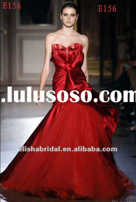 Hot 2012 China Red Ball Gown Sweetheart Satin And Tulle Zuhair Murad Evening Dresses