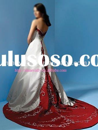 Hot sale Style AA018 Embroidered Red and White Duchess Satin Wedding Dress