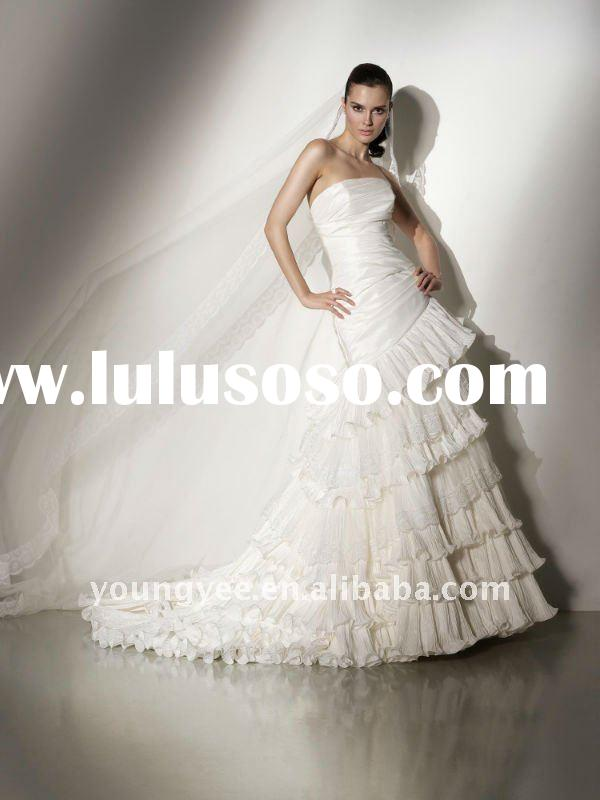 Hot sale straight neckline 2011 the most popular wedding dresses,spanish lace wedding dresses for we