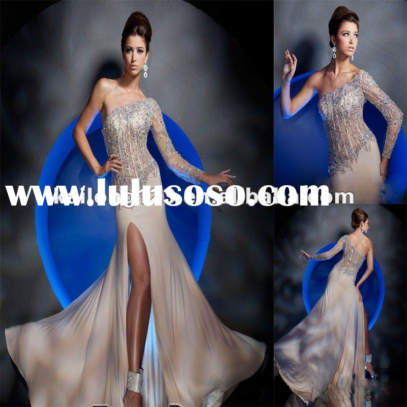Intricate One-shoulder Sheer Beaded Applique Long Sleeve Evening Dress